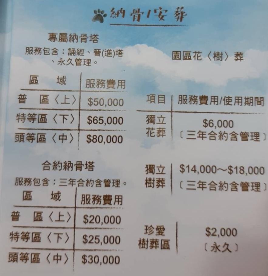 寵物殯葬芯寶收費